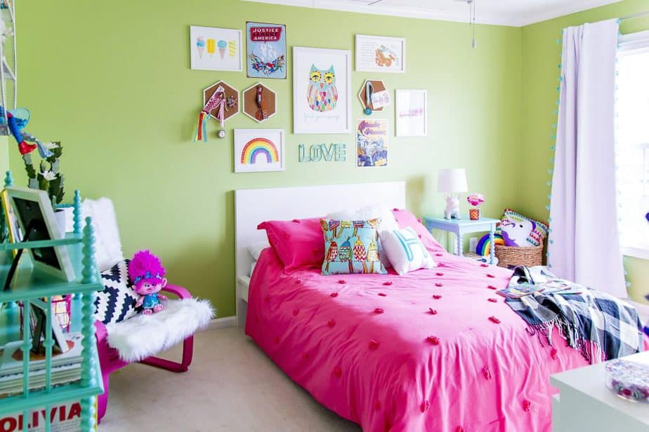 girls kids rainbow bedroom 1