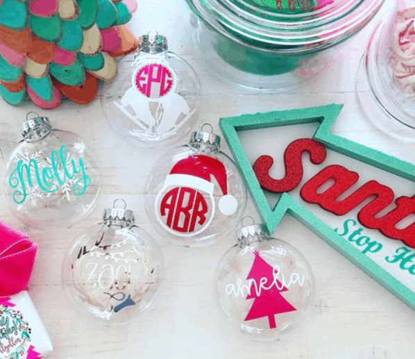 colorful monogrammed christmas ornaments