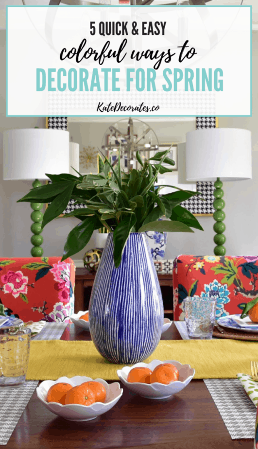 These colorful spring decorating ideas are fun, fast and affordable! #springdecor #colorfuldecor #springdecorating #colorfulhome