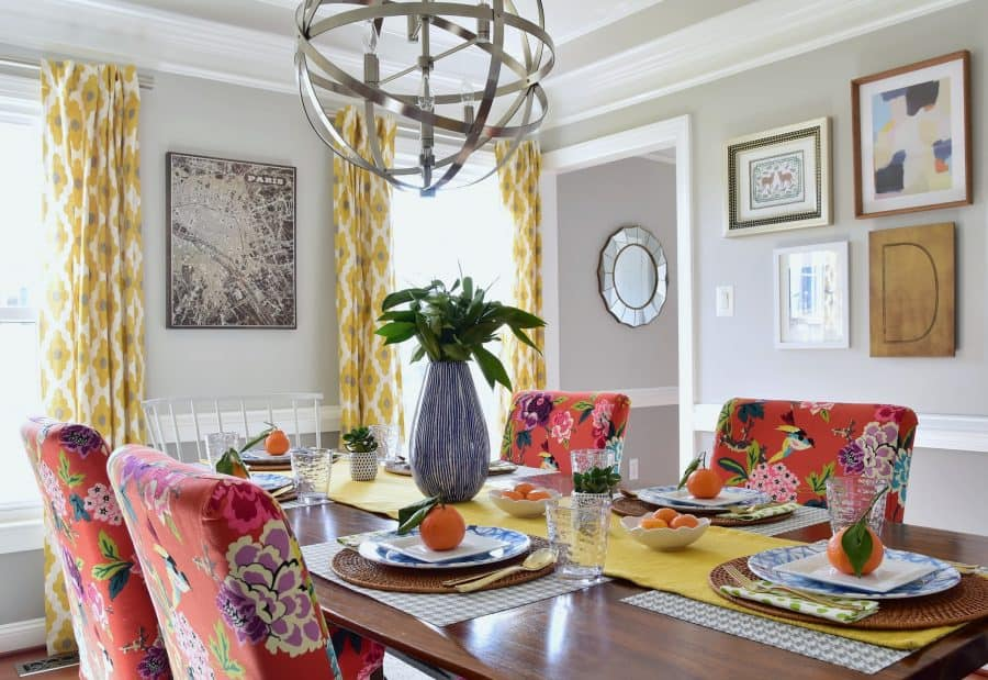 colorful dining room spring decorating tablescape 2