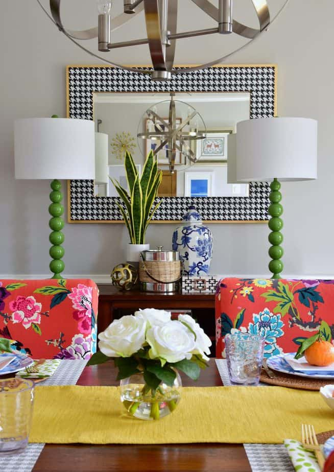 colorful dining room spring decorating ideas varaluz mirror