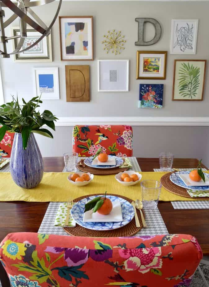 colorful dining room spring tablescape